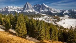 гори, Італія, краєвид, South Tyrol, Dolomites, Langkofel, сніг, дерева, альпи, природа