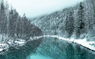річка, краєвид, туман, гори, сніг