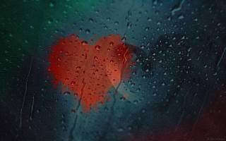 сердца, стекло, осень, капли