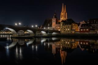 міст, річка, Німеччина, Regensburg, ніч, місто