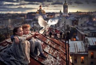 pigeons, roof, boys, girls
