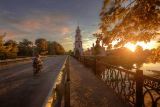 road, sunset, the city, river, Cathedral, Ed Gordeev, Eduard Gordeev, Eduard Gordeev, Эд Гордеев, Полисть, Старая Русса