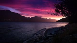 сутінки, природа, гори, рожевий, захід
