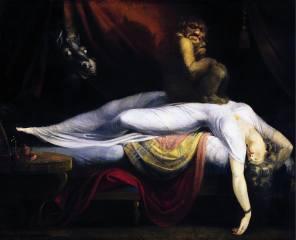 John Henry Fuseli, Иоганн Генрих Фюссли, Ночной кошмар, Швейцарский и английский живописец, picture, сверхъестественные существа, monster, horse, woman, sleep, sleeping