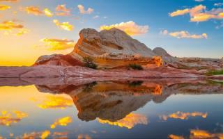 the lake, USA, white, water, WEATHER, the sky, clouds, sunset, rock, pocket, arizona, reflection