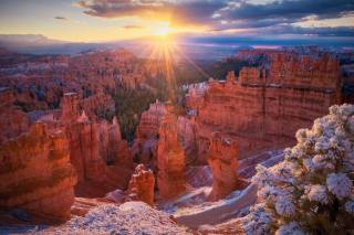 National Park, Bryce Canyon, Utah, Bryce Canyon, sunset, mountains, rock, the sun's rays