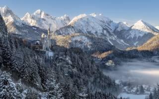 Німеччина, баварія, природа, краєвид, гори, Ліси, дерева, їли, замок, Нойшванштайн, зима, сніг, туман