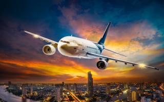 letadlo, let, cestování, noc, země, světa, západ slunce, nebe, večer