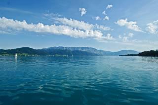 небо, озеро, гори, яхта