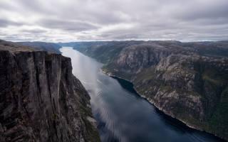 hory, Norsko, Kjerag, příroda, zataženo, fjord