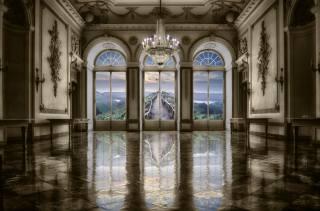 замок, зал, підлога, вікно, люстра, вид, краєвид