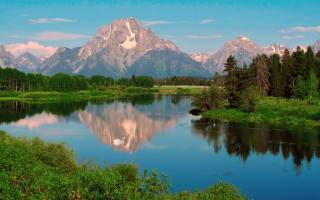 krajina, jezero, ptáci, odraz, hory, nebe, stromy