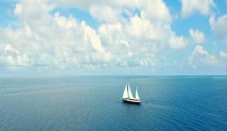 oceán, jachta, mraky, romance