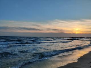 Ж. Порт, moře, podzim, západ slunce