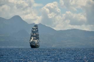 the ocean, Islands, sailboat, the sky