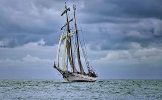 romance, cestování, plachetnice, moře, nebe