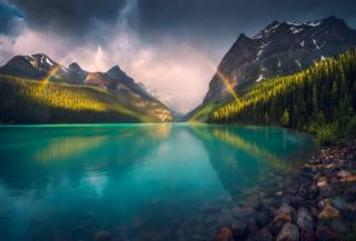 landscape, the lake, forest, mountains, the sky, rainbow