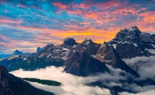 mountains, the sky, fog, landscape