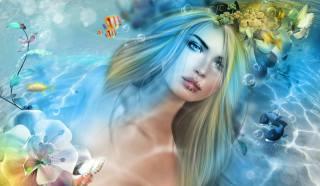 3d, графіка, дівчина, блондинка, вода, бульбашки, рибки, дельфіни, квіти, метелики