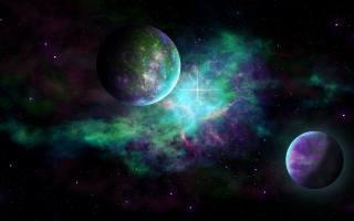 планети, в, звездной, галактике, з, зелёным, сиянием