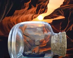 пляшка, корабель, краєвид, скелі, Рендеринг