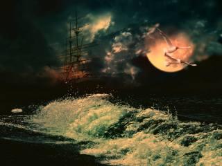 корабель, море, небо