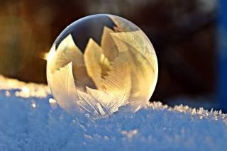 bubble, winter, snow, macro, frozen, pattern