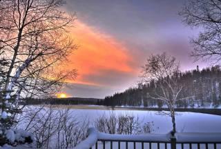 пейзаж природа, зима, сніг, дерева, небо, захід
