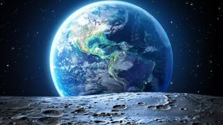space, the moon, earth