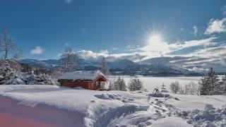 зима, Норвегія, More og Romsdal, Sykkylven, Sykkylvsfjorden, сніг, сонце, природа