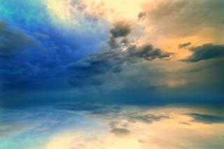 відображення, океан, небо