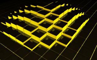 structure, cubes, 3d, yellow, black