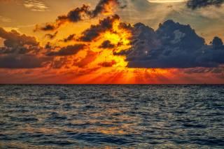море, небо, фарби, захід