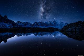 ніч, небо, зірки, гори, вода, гладь, відображення
