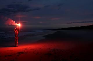 дівчина, море, берег, ніч