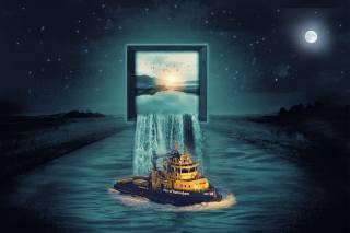 the sky, stars, field, river, monitor, waterfall, The ship, photomanipulation