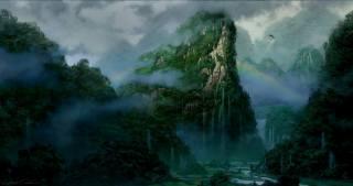 фентезі, ліс, дерева, пагорби, водопад.радуга