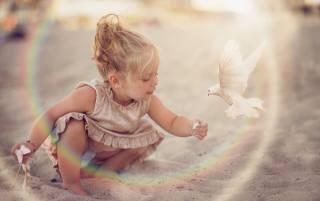 пісок, птиця, голуб, сукню, дівчинка, малятко, дитина, Daniela Gabay
