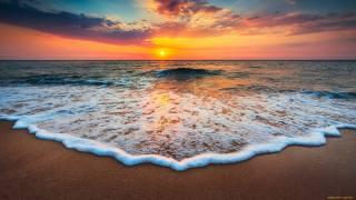 берег, пісок, океан, горизонт, небо, захід