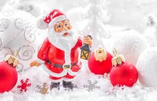Новий рік, дід мороз, іграшка, ліхтар, Кулі, сніжинки, світлий фон, красиво