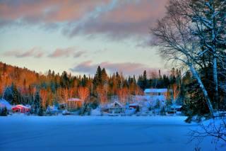 канада, квебек, природа, пейзаж, зима, снег, деревья, лес, дома, закат
