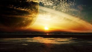 sunset, sea, ring, planet