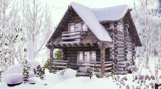 winter, home, snow, logs, Design, wooden