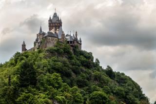 castle, Кохем, Rheinland-Pfalz, rock, clouds, tower