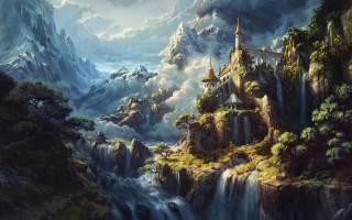 Fantasy, castle, waterfalls, artwork, alps, Surreal, Heaven, mountains
