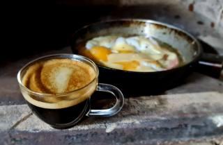 káva, snídaně, kamna