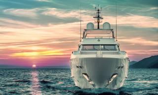 the ocean, the sky, yacht