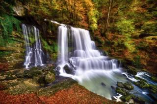 nature, autumn, Robert Didierjean, waterfall, cascade, stones, leaves