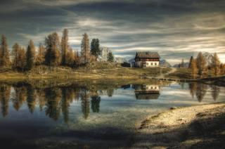 the house, trees, the lake