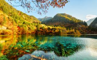 nature, autumn, Цзючжайгоу, Park, the lake, mountains, forest, trees